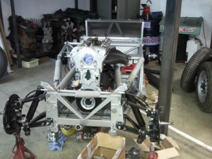 Car restoration frame and engine